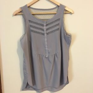 Gray Tank with Swiss Dot Tulle Inserts